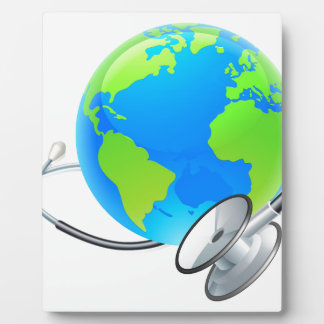 Stethoscope Earth World Globe Health Concept Plaque