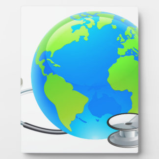 Stethoscope Earth World Globe Health Concept Plaque