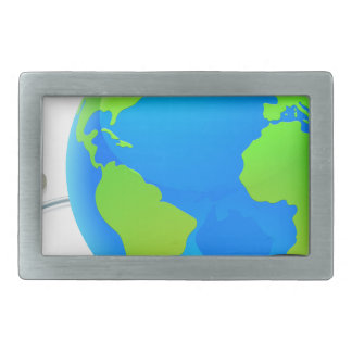 Stethoscope Earth World Globe Health Concept Rectangular Belt Buckles