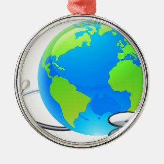 Stethoscope Earth World Globe Health Concept Silver-Colored Round Decoration