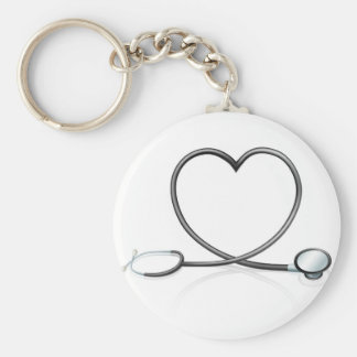 Stethoscope heart concept basic round button key ring
