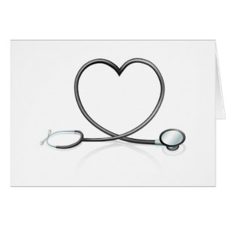 Stethoscope heart concept cards