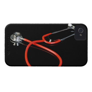 Stethoscope with its reflection on a black iPhone 4 case