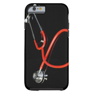 Stethoscope with its reflection on a black tough iPhone 6 case
