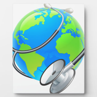 Stethoscope World Health Day Earth Globe Concept Photo Plaques