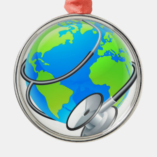 Stethoscope World Health Day Earth Globe Concept Silver-Colored Round Decoration