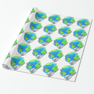 Stethoscope World Health Day Earth Globe Concept Wrapping Paper