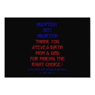 "Steve ""Adoption not Abortion..."" 9 Cm X 13 Cm Invitation Card"