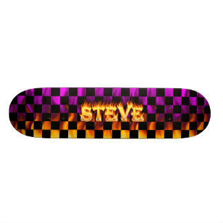 Steve skateboard fire and flames design