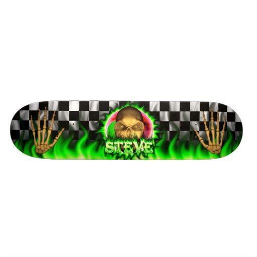 Steve skull green fire Skatersollie skateboard.