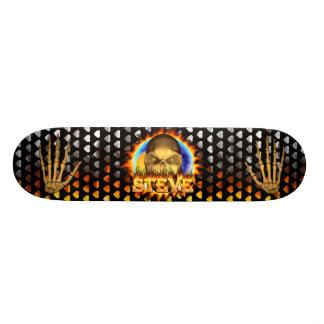 Steve skull real fire and flames skateboard design