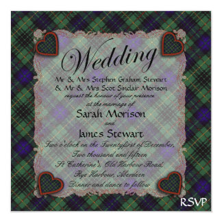 Stewart Hunting Scottish clan tartan - Plaid 13 Cm X 13 Cm Square Invitation Card