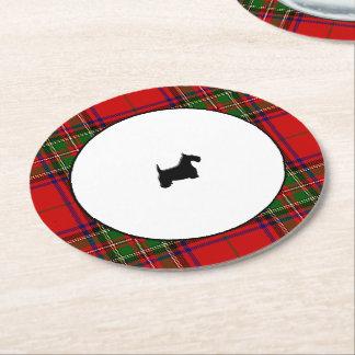 Stewart Plaid Black Scottie Round Paper Coaster