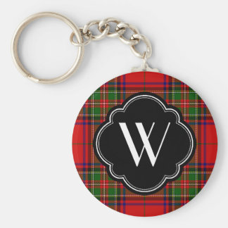 Stewart Plaid Monogram Key Ring