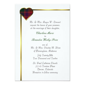 Stewart Red Plaid Heart Wedding Invitation