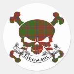 Stewart Tartan Skull Round Stickers