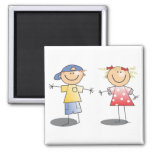 STICK BOY AND GIRL WEARING CLOTHES ~ GRAPHIC ART SQUARE MAGNET