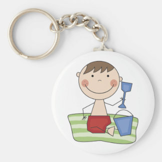 Stick Boy at Beach Tshirts and gifts Key Chain