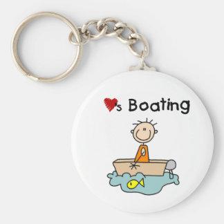 Stick Boy Loves Boating Basic Round Button Key Ring
