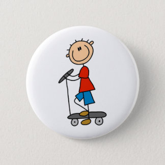 Stick Boy on Scooter 6 Cm Round Badge