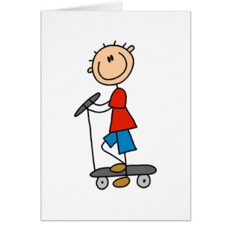 Stick Boy on Scooter Card
