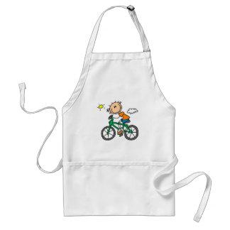 Stick Boy Riding Bicycle Aprons