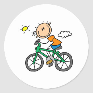 Stick Boy Riding Bicycle Classic Round Sticker