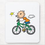 Stick Boy Riding Bicycle Mouse Mats
