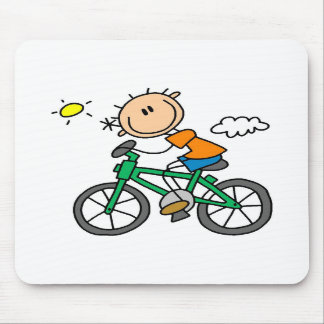 Stick Boy Riding Bicycle Mouse Mats