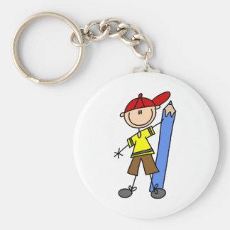 Stick Boy With Pencil Keychain