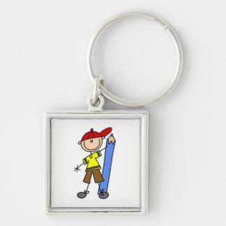 Stick Boy With Pencil Silver-Colored Square Key Ring