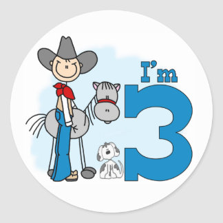 Stick Cowboy 3rd Birthday Round Sticker