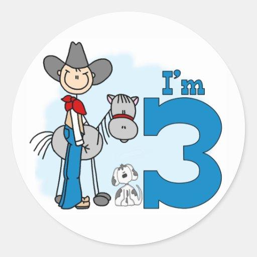 Stick Cowboy 3rd Birthday Round Sticker