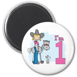 Stick Cowgirl 1st Birthday 6 Cm Round Magnet