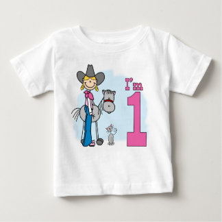 Stick Cowgirl 1st Birthday Baby T-Shirt