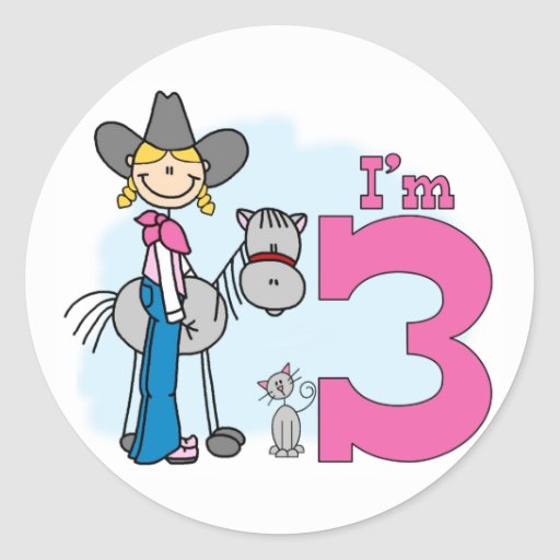 Stick Cowgirl 3rd Birthday Stickers