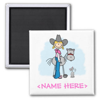 Stick Cowgirl N Horse Square Magnet