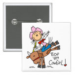 Stick  Cowgirl Riding Bull Tshirts and Gifts Pins