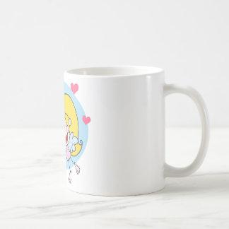 Stick Cupid Girl Flying With Heart Basic White Mug