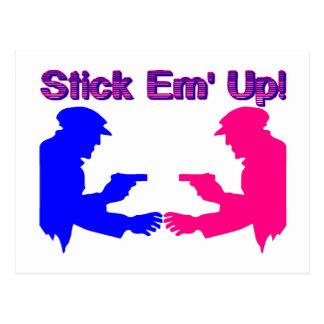 Stick Em Up Gangsters Postcard
