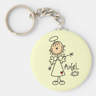 Stick Figure Angel T-shirts and Gifts Basic Round Button Key Ring