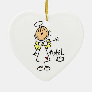 Stick Figure Angel T-shirts and Gifts Ceramic Heart Decoration