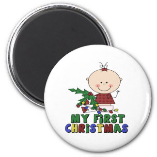 Stick Figure baby & Holly First Christmas 6 Cm Round Magnet