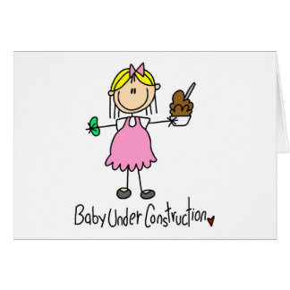 Stick Figure Baby Under Construction Greeting Card