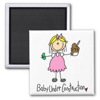 Stick Figure Baby Under Construction Square Magnet