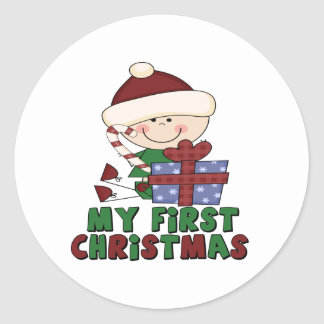 Stick Figure Baby with Gift first Christmas Round Sticker