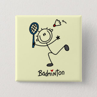 Stick Figure Badminton T-shirts and Gifts 15 Cm Square Badge