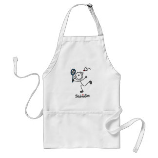 Stick Figure Badminton T-shirts and Gifts Adult Apron