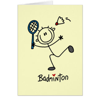 Stick Figure Badminton T-shirts and Gifts Card