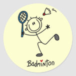 Stick Figure Badminton T-shirts and Gifts Round Sticker